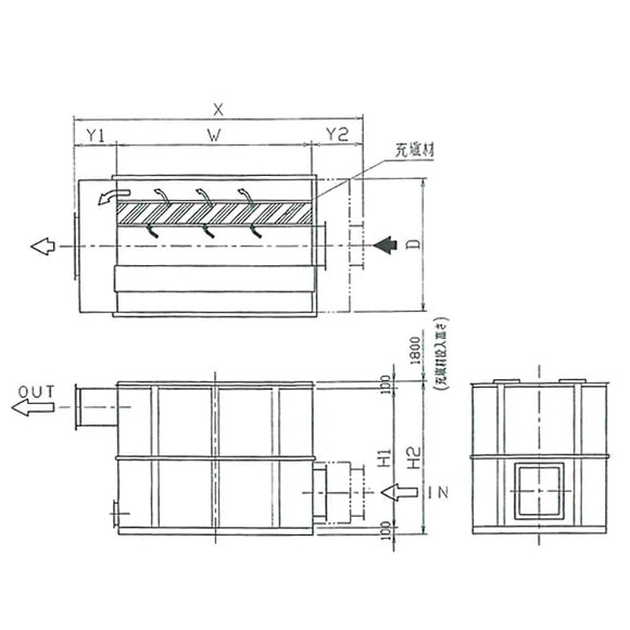 【吸着式(VK型吸着塔)】吸着剤を500×100tのケースに充填しカートリッジ構造になっています。低濃度のVOCなどに適用。吸着材の入替などメンテナンスが用意です。